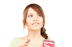 Ovely teenage girl with purse and money Stock Photography