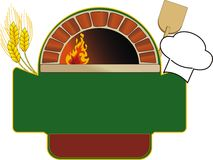 Oven. Vector illustration of firewood oven with shovel and grain Royalty Free Stock Photos