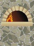 Oven. Vector firewood oven  on stone wall Stock Photos