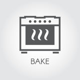 Oven bake icon drawing in flat style for different cooking projects or kitchen interior design Stock Photo