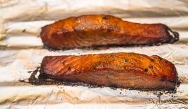 Oven Baked Bourbon Glazed Salmon fotografia de stock royalty free