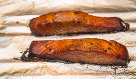 Oven Baked Bourbon Glazed Salmon. On a sheet of aluminum foil Royalty Free Stock Photography