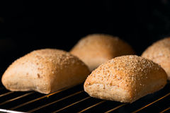 Oven baked bread three pieces close up Royalty Free Stock Image