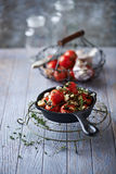 Oven-Baked Cherry Tomatoes with Garlic and Feta Royalty Free Stock Images