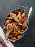 Oven-baked chicken legs Stock Photography