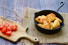 Oven baked chicken nuggets royalty free stock images