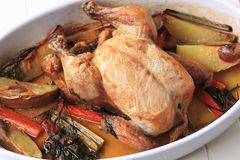 Oven-baked chicken and vegetables Stock Photos