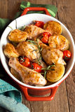 Oven baked chicken and vegetables Stock Photography