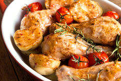 Oven baked chicken and vegetables Royalty Free Stock Photo