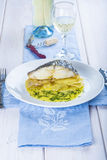 Oven baked cod fish with potatoes Royalty Free Stock Photos