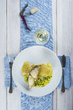 Oven baked cod fish with potatoes Royalty Free Stock Photography