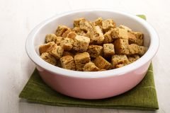 Oven baked croutons in a bowl Royalty Free Stock Images