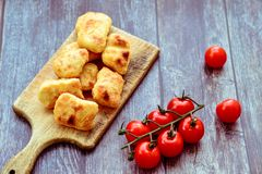 Oven baked chicken nuggets stock images