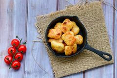 Oven baked chicken nuggets stock image