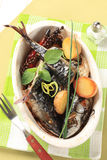 Oven baked mackerel with new potatoes Stock Image