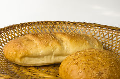whole wheat bread and bun  Royalty Free Stock Images