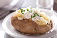 Oven Baked Potato. A delicious oven baked potato with sour cream and chives Stock Photography
