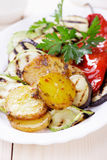 Oven baked potato and grilled vegetable Royalty Free Stock Photos