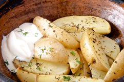 Oven baked potato with rosemary. Oven-baked fresh potato with rosemary earthen pot Royalty Free Stock Photos