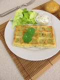 Oven-baked potato waffles with cream cheese dip Stock Photo
