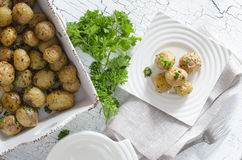 Oven baked potatoes royalty free stock photos