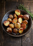 Oven-Baked Potatoes with Sea Salt and Rosemary Royalty Free Stock Photo