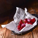 Oven baked red beets stock photography