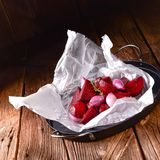 Oven baked red beets stock photos