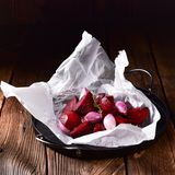 Oven baked red beets royalty free stock photo