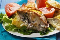 Oven baked rockfish closeup Royalty Free Stock Photos