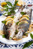 Oven-baked Sea bass Stock Photo