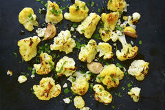 Oven baked spicy cauliflower.Top view. Stock Photography