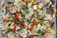 Oven baked summer vegetables Stock Photo