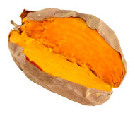 Oven Baked Sweet Potato Isolated op Wit royalty-vrije stock foto's