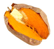Oven Baked Sweet Potato Isolated sur le blanc images libres de droits