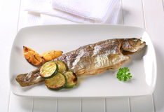 Oven baked trout Royalty Free Stock Images
