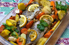 Oven Baked Trout And Vegetables Royalty Free Stock Images