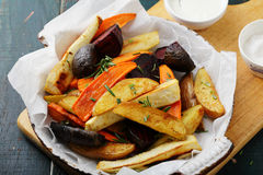 Oven baked vegetables in pan stock photo