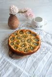 Oven baked yogurt pie with kiwi. Perfect cozy and delicious dessert: Oven baked yogurt pie with kiwi Royalty Free Stock Images