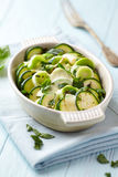 Oven-Baked Zucchini with Mozzarella and Leek Royalty Free Stock Image