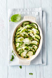 Oven-Baked Zucchini with Mozzarella and Leek Stock Photo