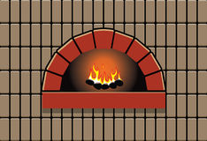 Oven with burning fire Stock Images