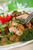 Oven Chicken With Peas Stock Photo