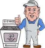 Oven Cleaner With Oven Thumbs acima dos desenhos animados ilustração stock