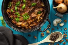 Oven cooked meat casserole royalty free stock photo