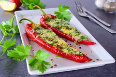 Oven cooked red paprika stuffed with cheese, garlic and herbs on a white plate with parcley and cherry tomatoes an Royalty Free Stock Photography