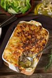 Oven dish potato gratin with minced beef and bechamel sauce. Oven dish potato gratin casserole with minced beef and bechamel sauce Royalty Free Stock Image