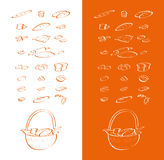 Oven Drawing Vector Collection. Bread can be used in subjects relevant to the drawings Royalty Free Stock Images