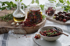 Oven dried tomatoes close up in jars Royalty Free Stock Photo