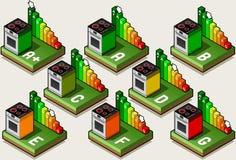 Oven Energy Efficiency Classes isométrique Images libres de droits
